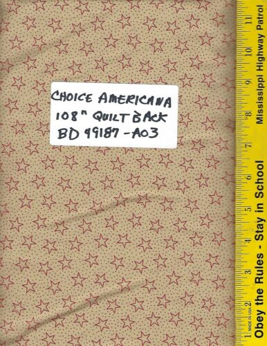 """BD-49187-A03 100/% COTTON PATRIOTIC AMERICANA  108/"""" EXTRA WIDE BACKING PER YARD"""