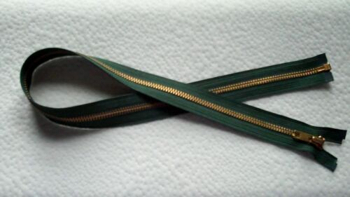 26 inch #5 Hunter Green /& Brass Metal Separating YKK Zipper New!