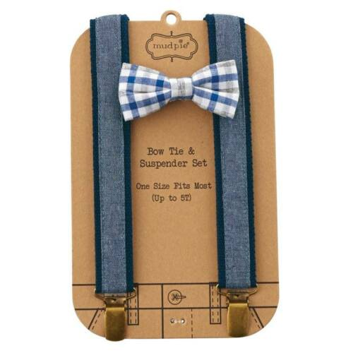 Mud Pie Easter Chambray Bow Tie and Suspender Set