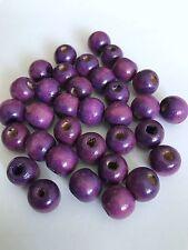 200 pcs Purple Wood Beads Round 12mm Bead Jewelry Making Wooden Tool 52b Charm