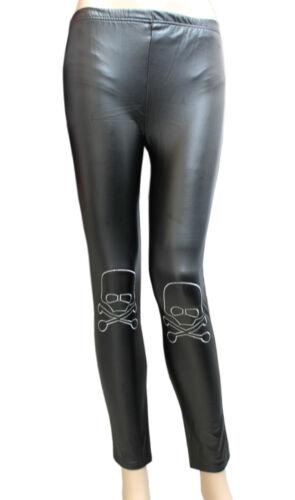 SMALL NEW LADIES BLACK WET LOOK LEGGINGS WITH EMBROIDERED CROSS BONES /& SKULL