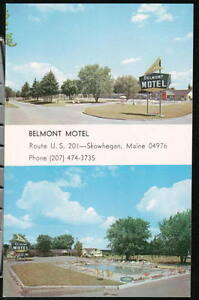 SKOWHEGAN-ME-MAINE-Belmont-Motel-Vintage-Postcard