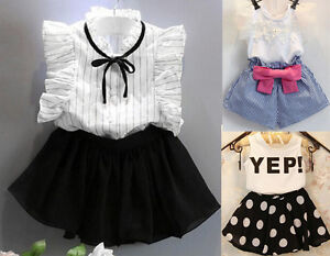 Transser Kids Baby Girls Outfits Set 2T-7T Polka Dot Fly Sleeve T-Shirt Pearl Decor Tulle Skirt Girl Clothes