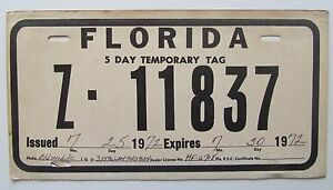 Florida Temporary Tag >> Florida 1972 Temporary 5 Day Tag License Plate Nice Quality Z