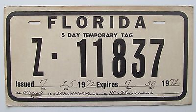 Florida 1972 TEMPORARY 5 DAY TAG License Plate NICE QUALITY # Z-11837 | eBay