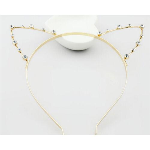 Metal Cat Ear Hair Accessories Lady Punk Rhinestone Cat Ears Headwear Party gvHK
