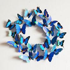 12 PCS DIY 3D Butterfly Wall Sticker Magnet Party Home Decor Art Decal #Blue