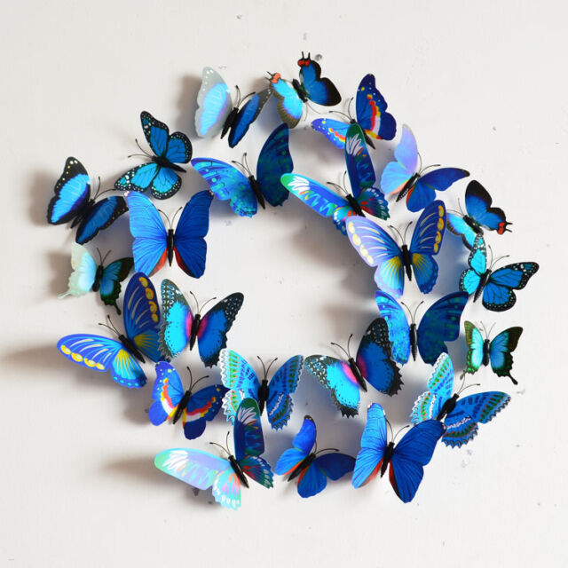 A Lot 12PC DIY 3D Butterfly Wall Sticker Home Decor Room Decorations Art 9Color