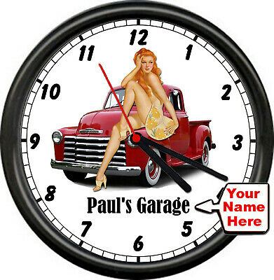 Personalized Garage Auto Mechanic Retro Vintage Truck Pinup Girl Wall Clock