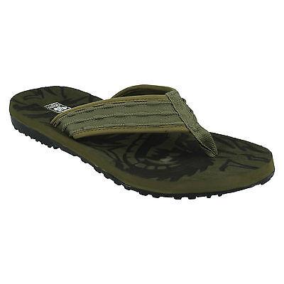 Para Hombre A0043 Plana Textil Toe Post resbalón en Flip Flop Mula Sandalias hacia abajo para EARTH