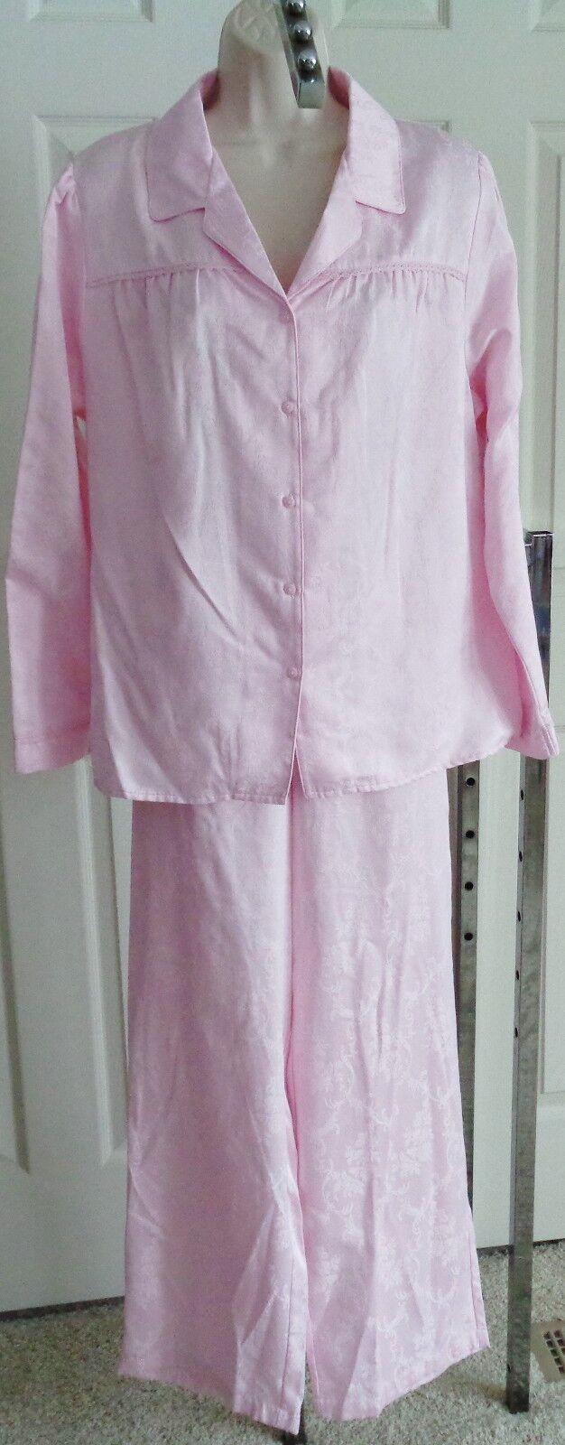 Awomen NWT  50 pale pink satin pajama pjs set L