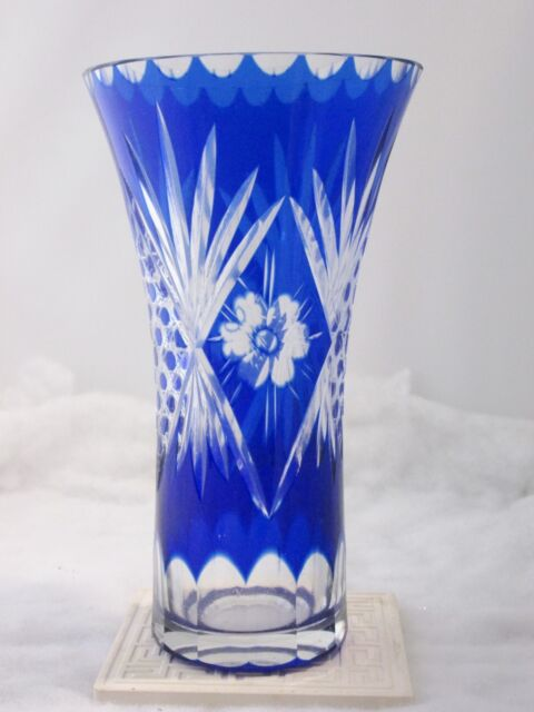 Hand Cut Cobalt Blue Glass Floral Vase