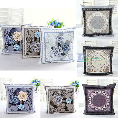 Square Euro Classic Pillow Case Cushion Cover Cotton Textile Sofa/Bed/Car DIY