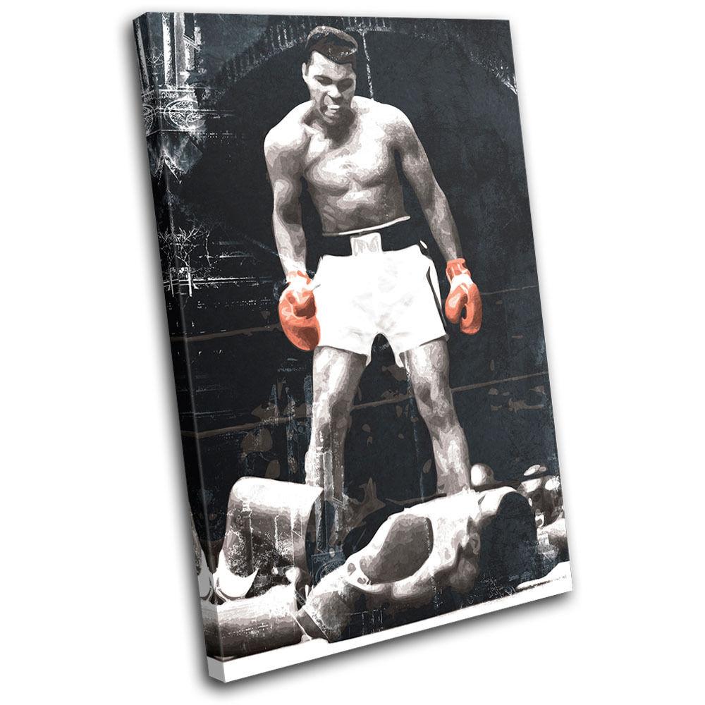 Boxing Muhammad Ali Liston  Sports SINGLE TOILE murale ART Photo Print