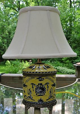 Beautiful Blue and Yellow Porcelain Jar Lamp with Brass Base