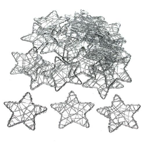 Fil étoiles plat argent litière étoiles //// 5 cm//20 pièces!!!