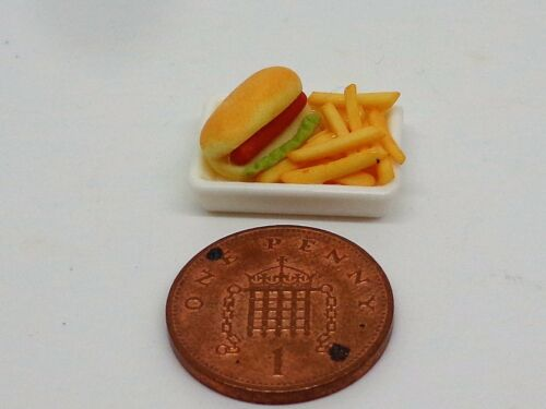 1:12 SCALA HOT DOG /& Chips Casa delle Bambole Accessorio Miniatura Cibo