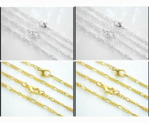 """Wholesale 20-1000PCS Silver//Gold Plated Fine Chain Necklace With Clasp 22/""""X"""