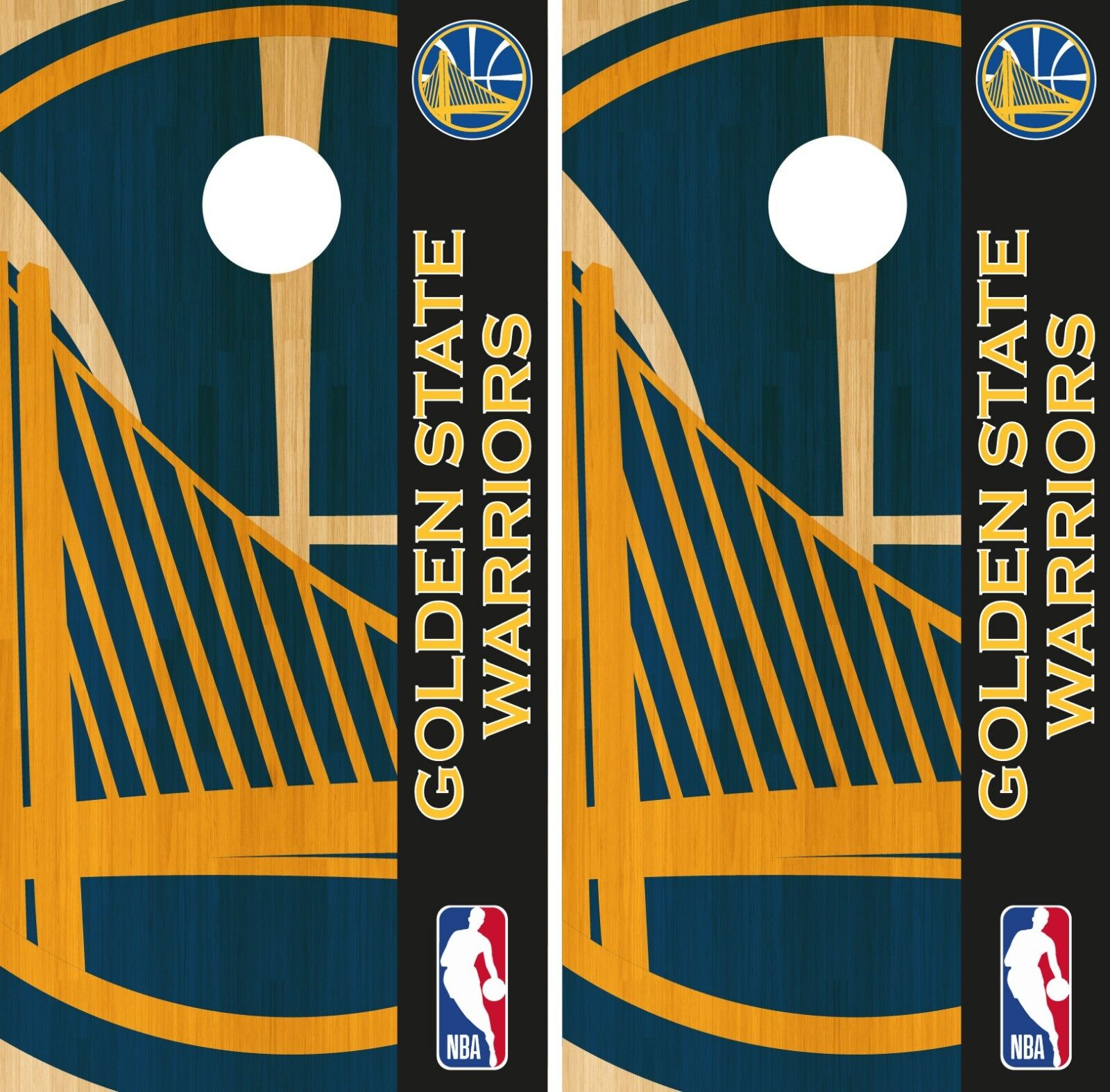 golden State Warriors Cornhole Wrap NBA Logo Game Skin Set Vinyl Decal CO607