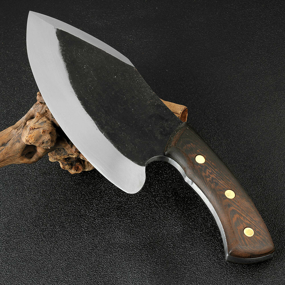 Handmade Manual Forged Steel Knife Butcher Heavy Duty Wood Handle Full Tang Chop