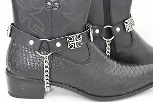 Men-Boot-Silver-Metal-Chain-Black-Leather-Straps-Iron-Cross-Charm-Bike-Religious