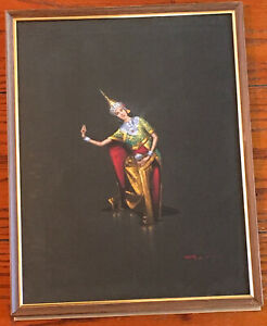 Vintage-Balinese-Dancer-Gouache-Painting-14x11-Framed-Signed