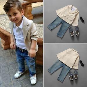 ccd5214a0 Toddler Kids Boys Gentleman Blazer Coat Shirt Tops Denim Pants 3Pcs ...