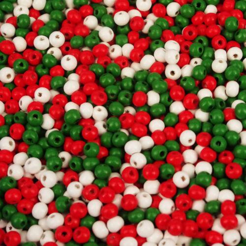 600 X mezcla de Navidad Semilla Cuentas de Madera 5 X 6 mm W500 Perlas de arte para niños 30g