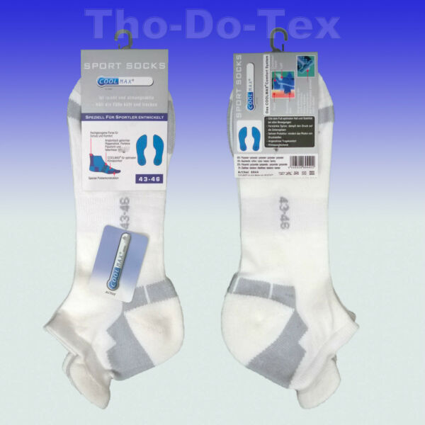 COOLMAX® Sneaker Socken. Sportsocken, Funktionssocken, handgekettelt,3 Paar weiß