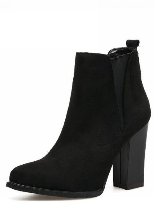 botas bajo negro talón cuadrado 9.5 cómodo como piel 9401
