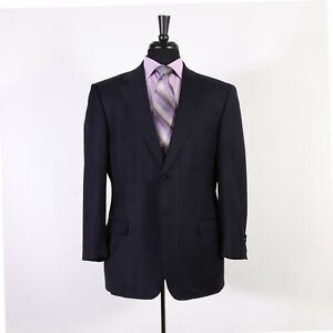 Ermenegildo Zegna 42S Navy Check Wool Two Button Sport Coat Blazer Jacket