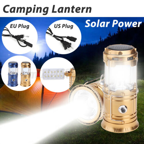 Portable Solar Lantern Rechargeable LED Tent Lamp Light Torch For Camping