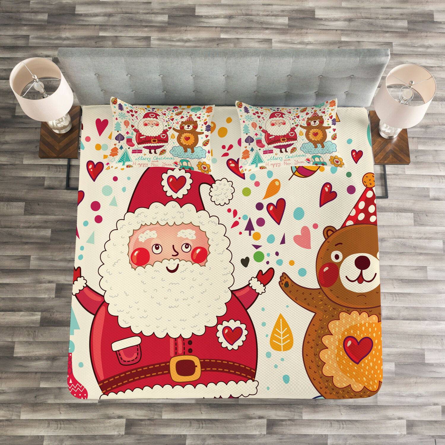 Christmas Quilted Bedspread & Pillow Shams Set, Santa and Teddy Bear Print