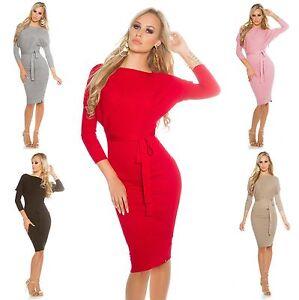 Women-039-s-Fine-Knit-Belted-Midi-Dress-One-Size-S-M-L