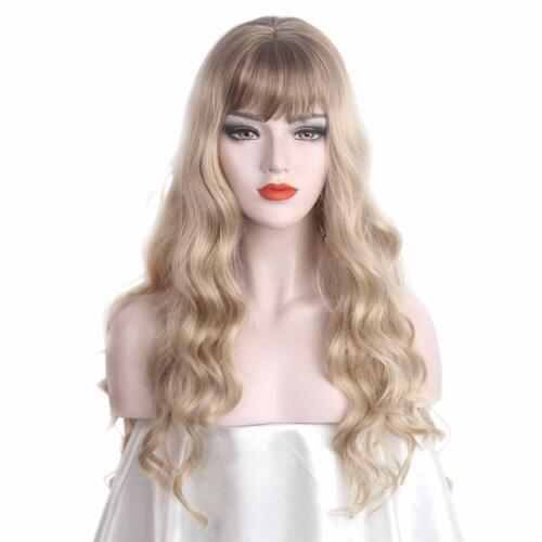 Parrucca lunga BIG WAVE Donne Ash Biondo Costume Completo capelli con Bang Costume UK