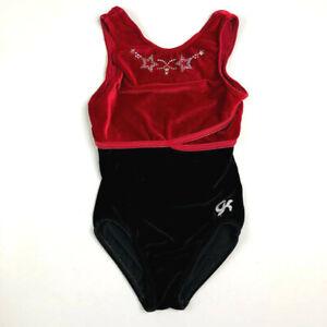GK-Elite-AXS-Gymnastics-Leotard-Black-Red-Stars-Velour-Adult-XSmall