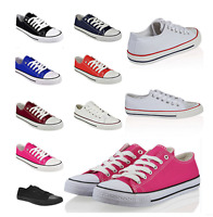 Fashion WOMENS GIRLS Student FLAT LACE UP PLIMSOLLS PUMPS CANVAS TRAINERS SHOES