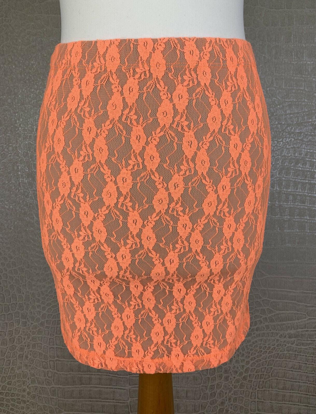 Neu! AMISU Gr. 36 Stretchrock Rock neon orange Spitze Jersey Skirt Minirock 503