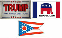3x5 Trump White 2 & Republican & State Of Ohio Wholesale Set Flag 3'x5'
