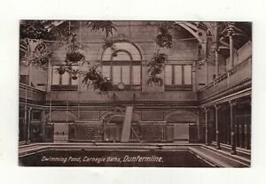 DUNFERMLINE-CARNEGIE-BATHS-SWIMMING-POND-1924-OLD-PRINTED-POSTCARD