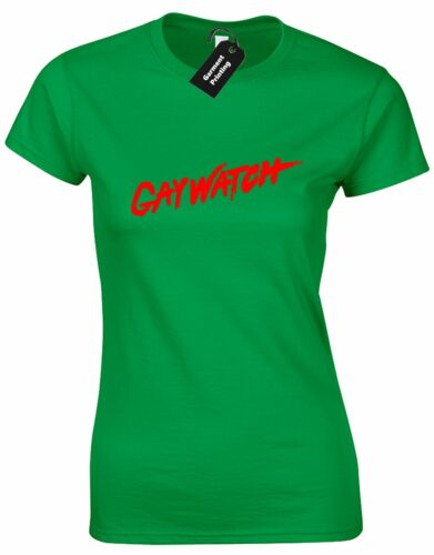 GAYWATCH BENIDORM LADIES T SHIRT PARTY TV SPOOF LGBT LESBIAN LIFEGUARD BAYWATCH
