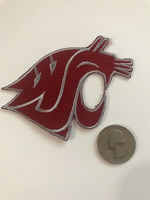 "WSU WAZZU Washington State Cougars embroidered iron-on patch 3"" X 2.5"""