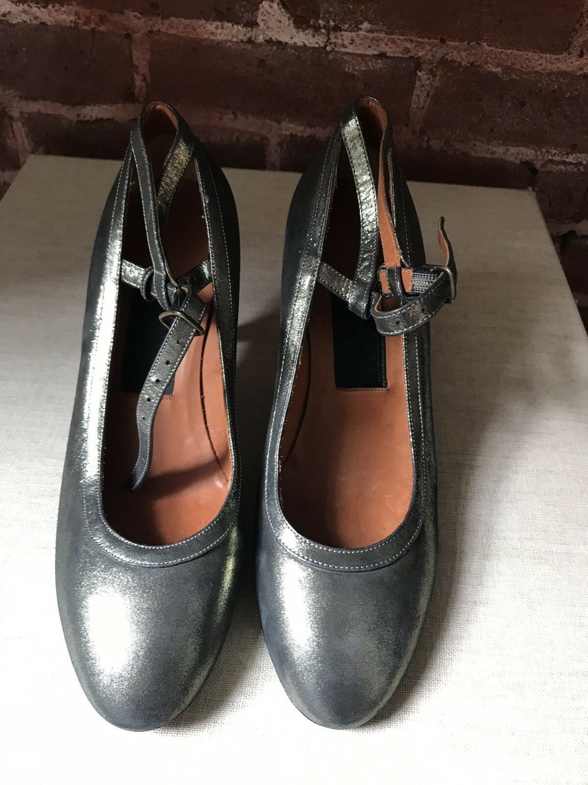 Silver Lanvin Heels 38 And 37.5 New