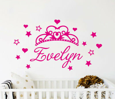 Custom Name Princess Sparkle Wall Sticker Bedroom Hipster Cool Kids MS274VC