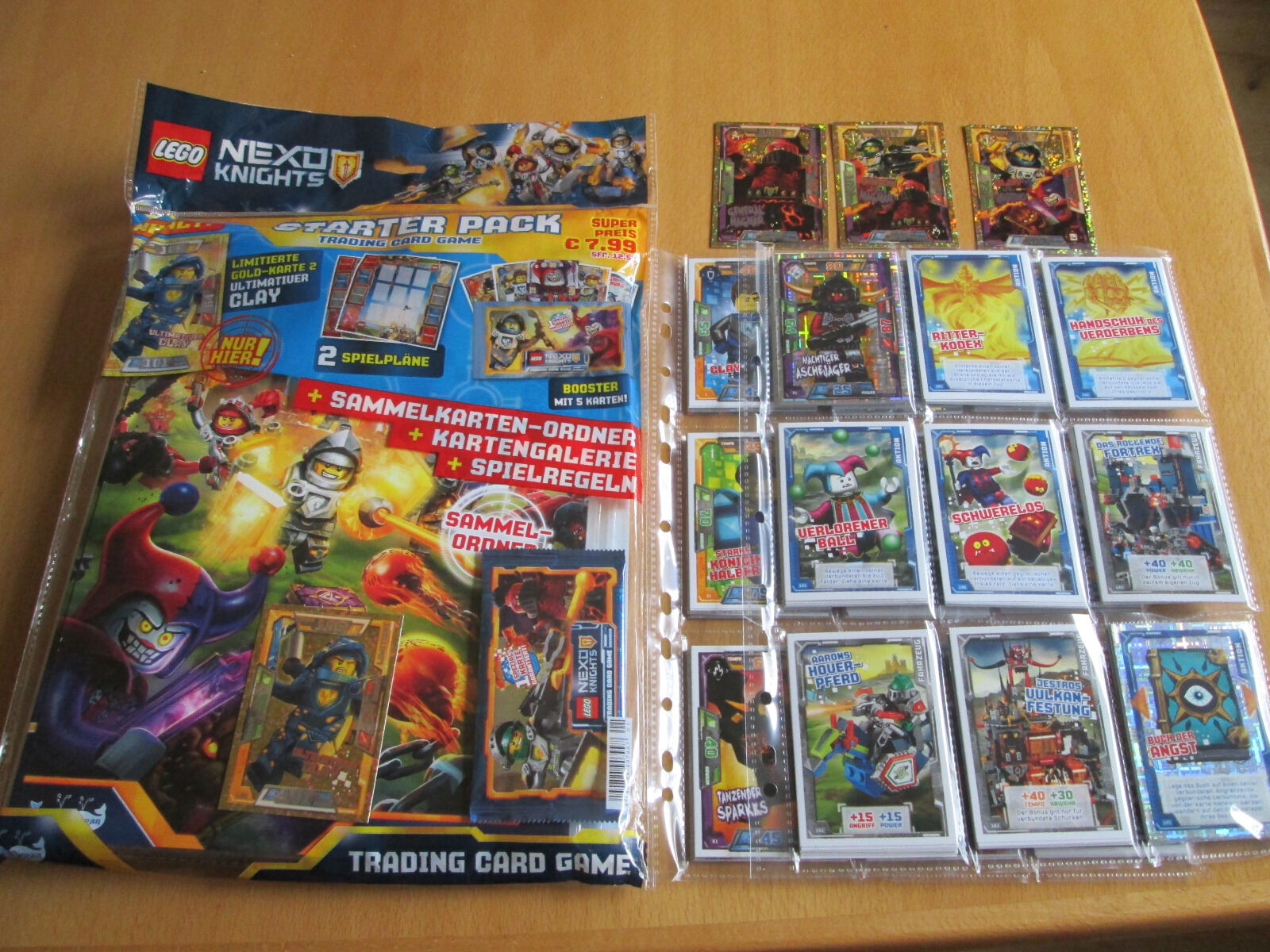 LEGO Nexo Knights Trading Cards KOMPLETT-SATZ-SET (180) + StarterPack inkl. 4 LE