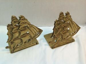 Vintage-Brass-Bookends-Hinged-Folding-1950-039-s-Nautical-Schooner-Sailing-Ships