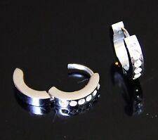 Men's Boy's Women's Stainless Steel Silver CZ Huggie Hoop Hinged Stud Earrings