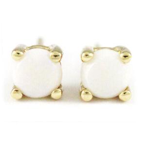 14k White Gold Opal Stud Earrings, 4.1 mm (New, 1g, October Birthstone) #1616