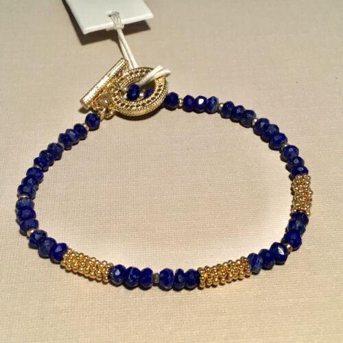 Neuf avec étiquettes Anna Beck 18k Or Plaqué Argent Sterling Perles Lapis Bracelet