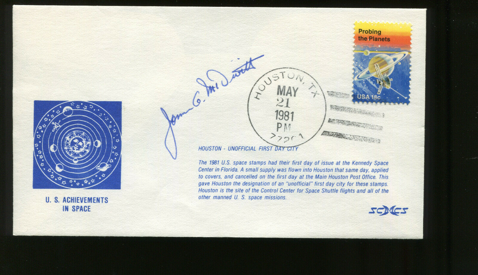 s l1600 - Astronaut James A. McDivitt Signed on May 21 1981 US Space Achievement Issue FDC